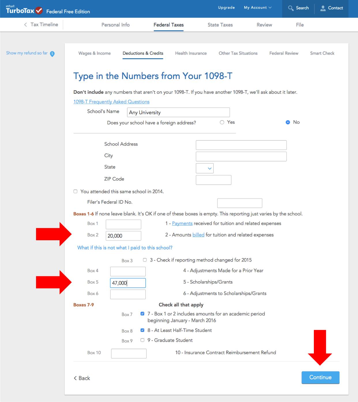 how to amend a tax return 1098 t