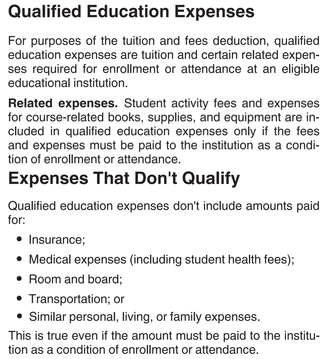 qualified education expenses tuition and fees deduction